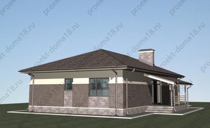 Проект одноэтажного дома из газобетона  А-07-19 фасад