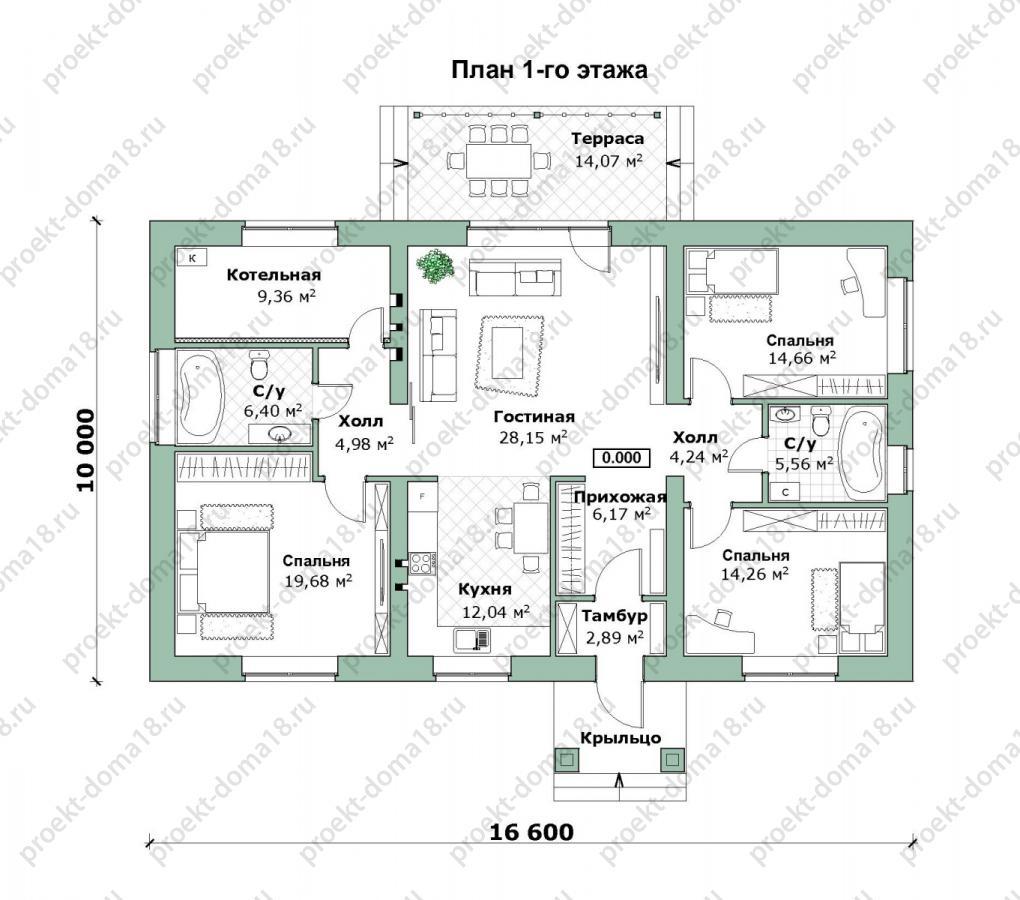 Проект одноэтажного дома из газобетона  А-07-19 план