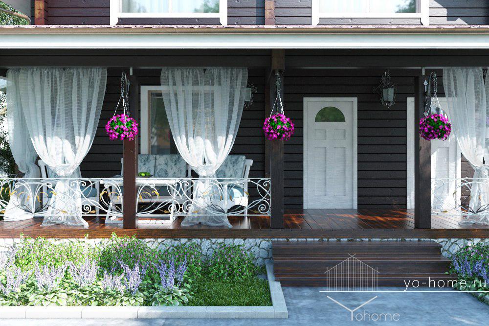 Дом из клееного бруса фасад
