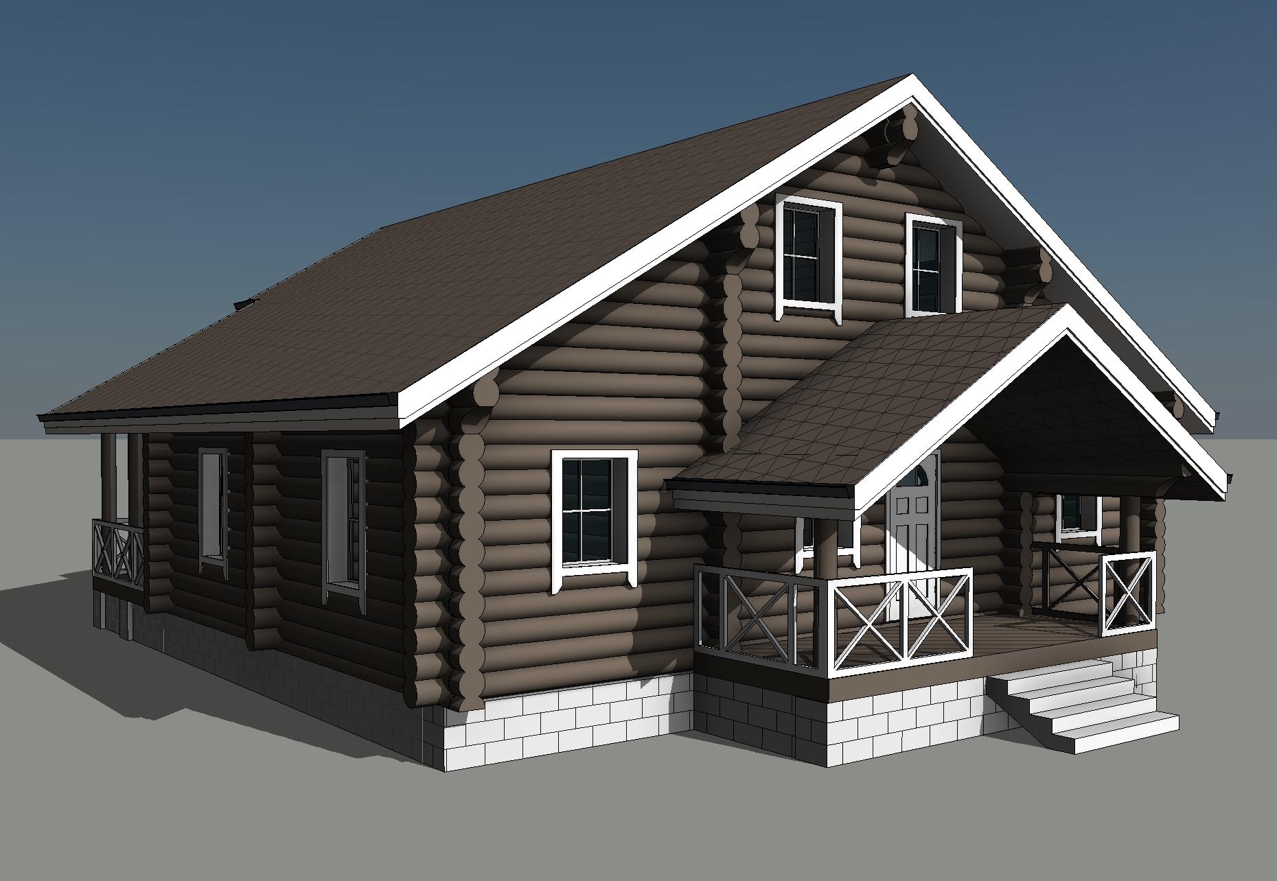 Проект дома из бревна фасад