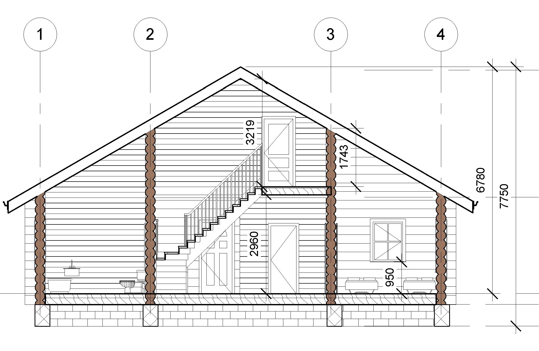 Проект дома из бревна план