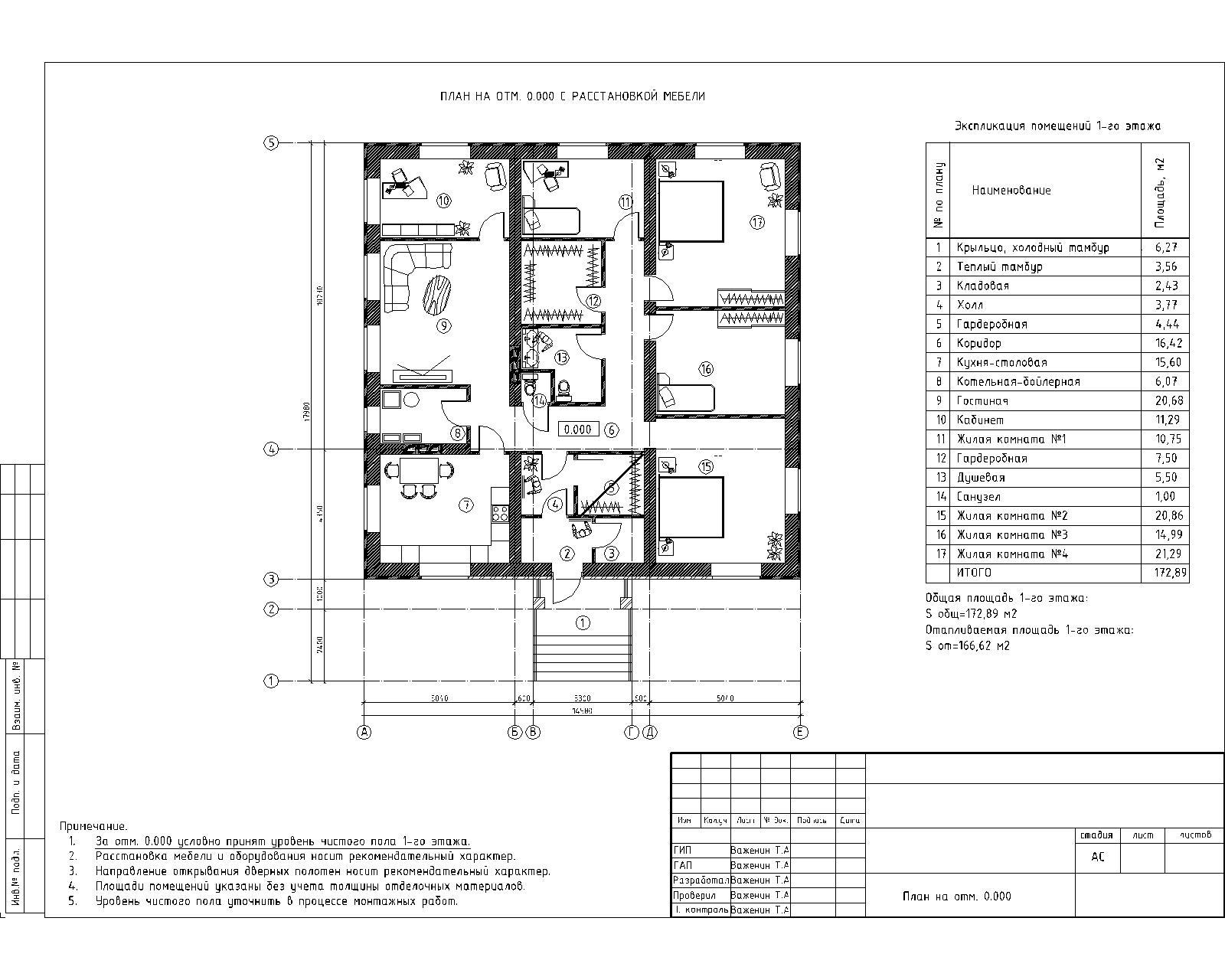 Рабочий проект одноэтажного дома план