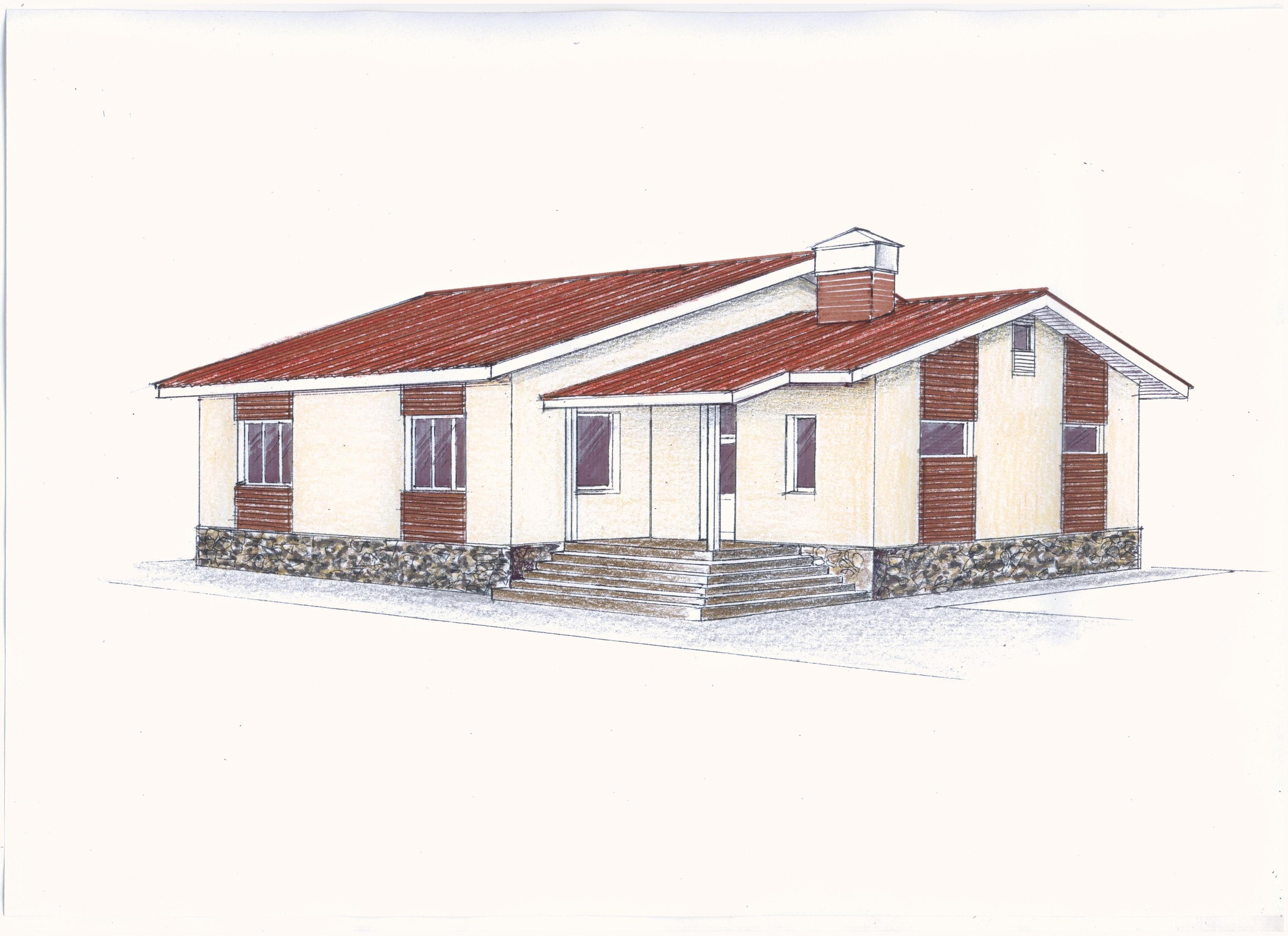 Эскизный проект одноэтажного дома фасад