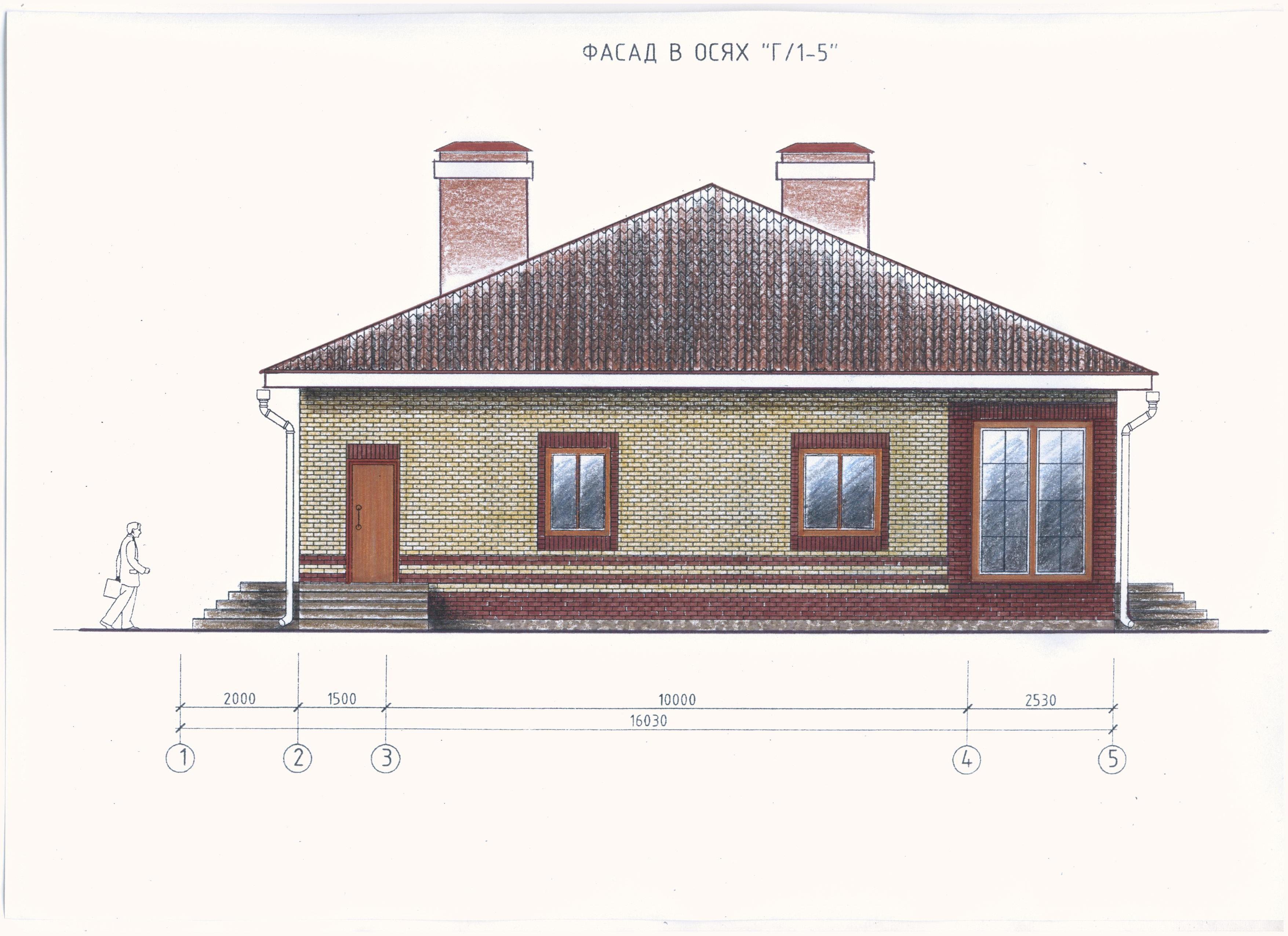 Одноэтажный дом для большой семьи фасад