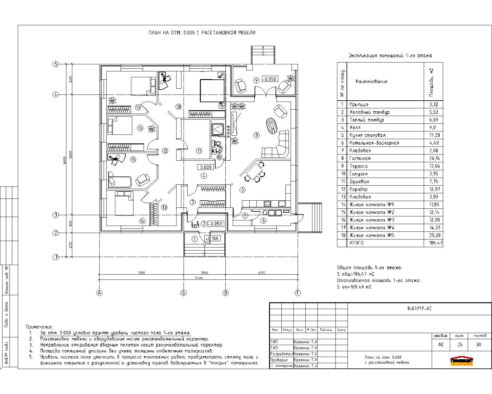 Одноэтажный дом для большой семьи план