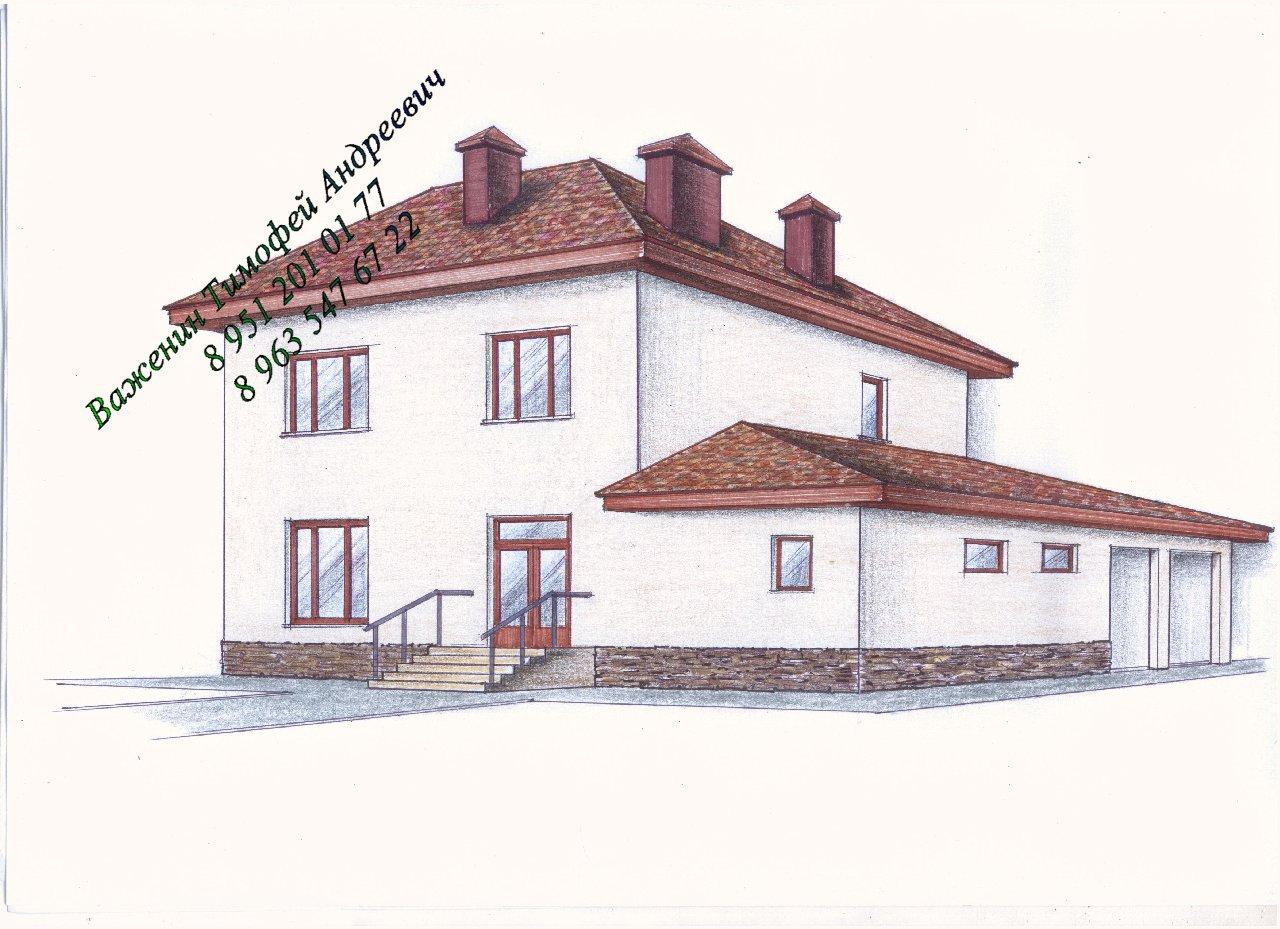 Проект двухэтажного жилого дома фасад