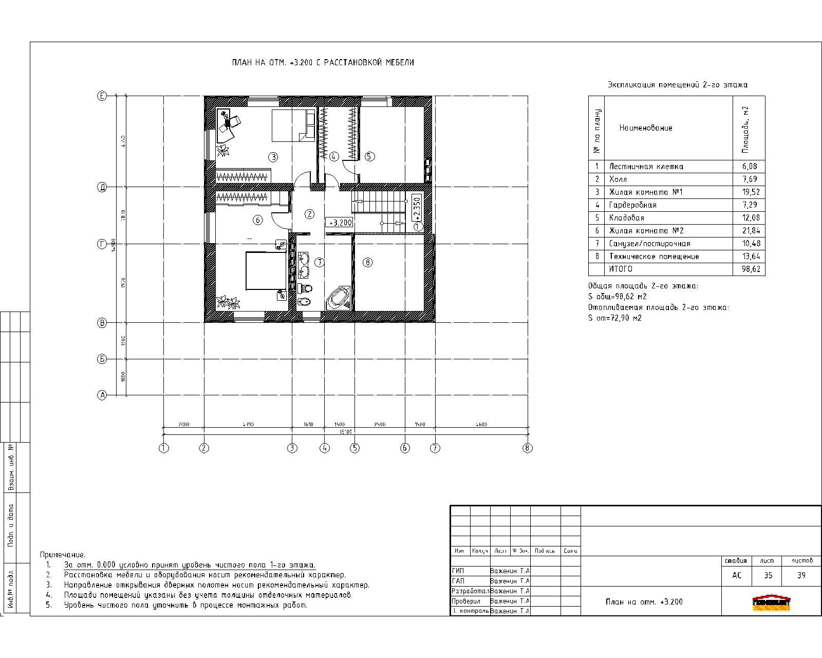 Готовый проект уютного двухэтажного жилого дома  план
