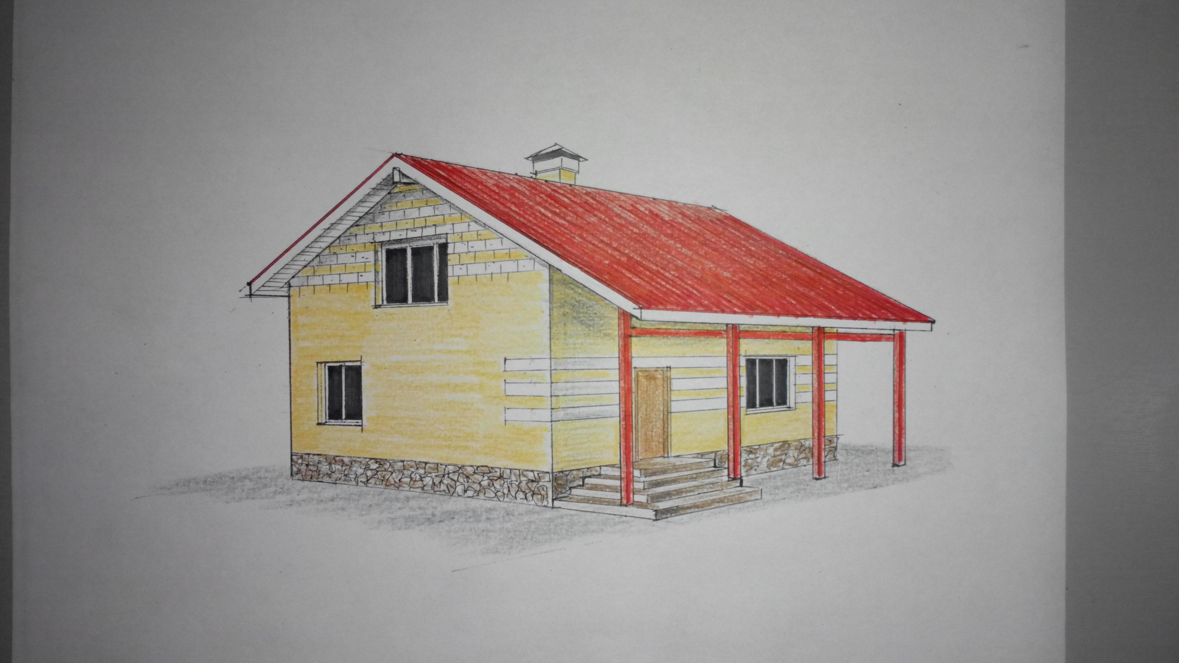 Проект компактного двухэтажного дома фасад