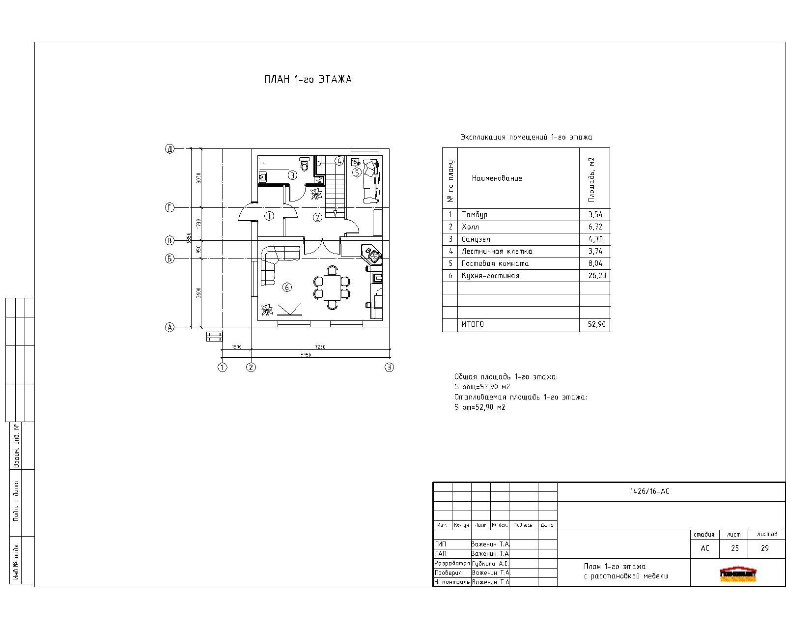 Проект компактного двухэтажного дома план