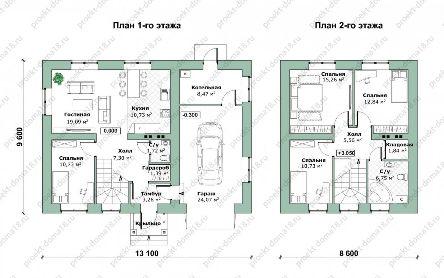 Проект дома с гаражом Л-02-23/а план