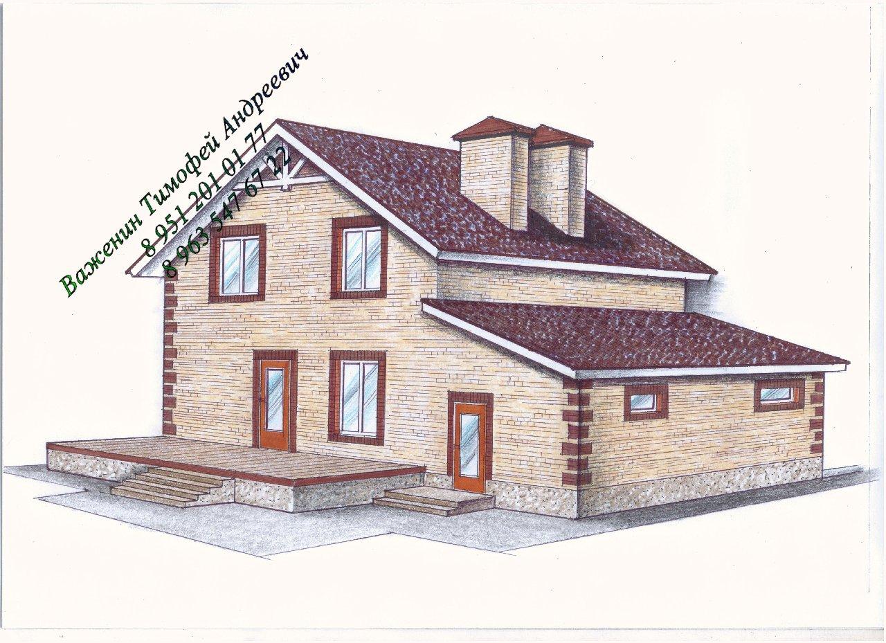 Готовый проект уютного двухэтажного дома фасад
