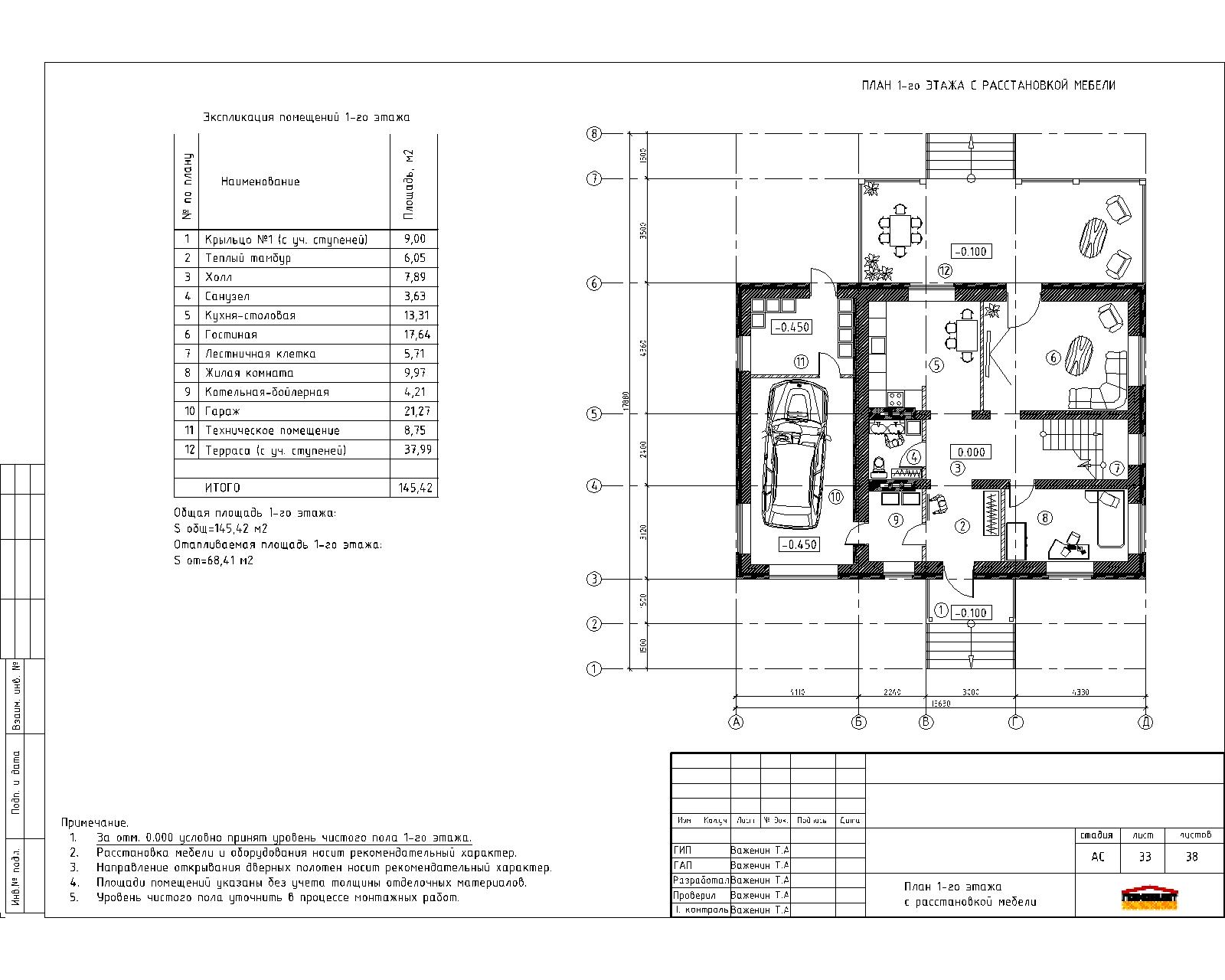 Готовый проект уютного двухэтажного дома план