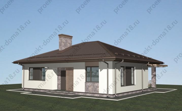 Проект одноэтажного дома из газобетона А-07-18/а фасад