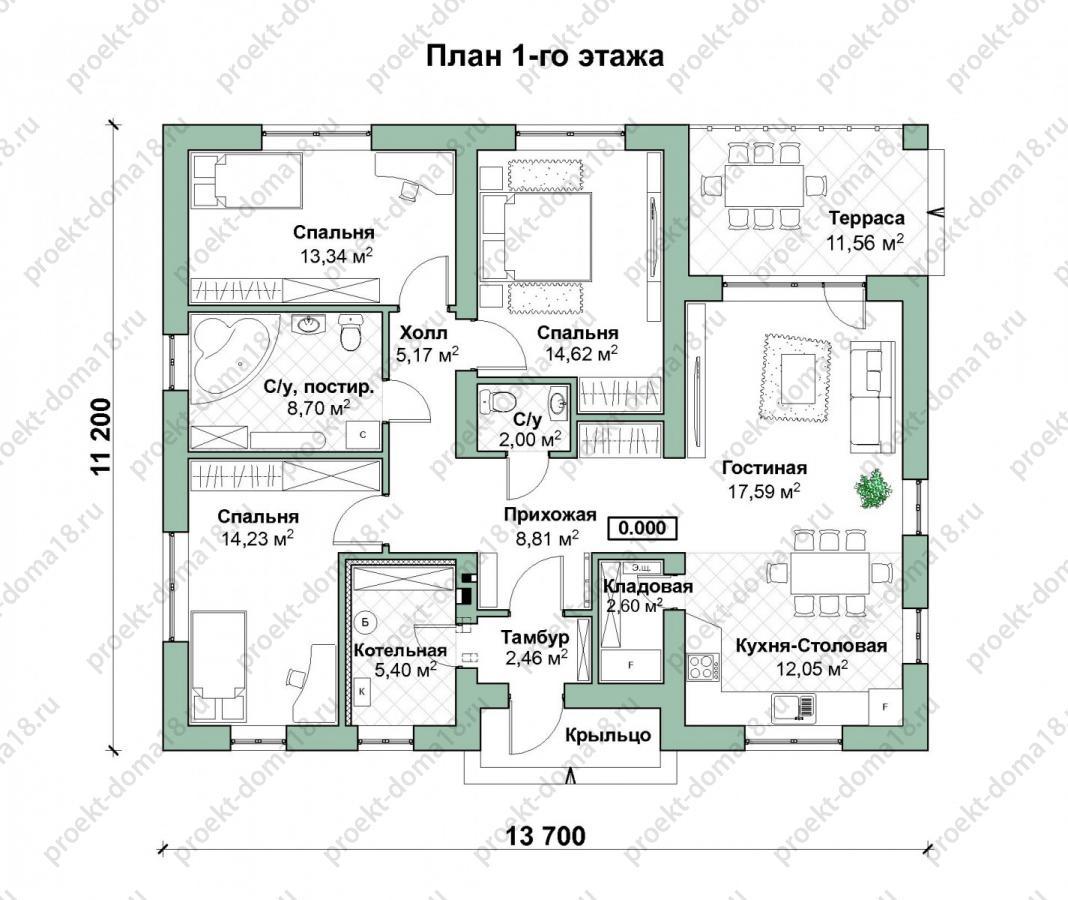Проект одноэтажного дома из газобетона А-07-18/а план