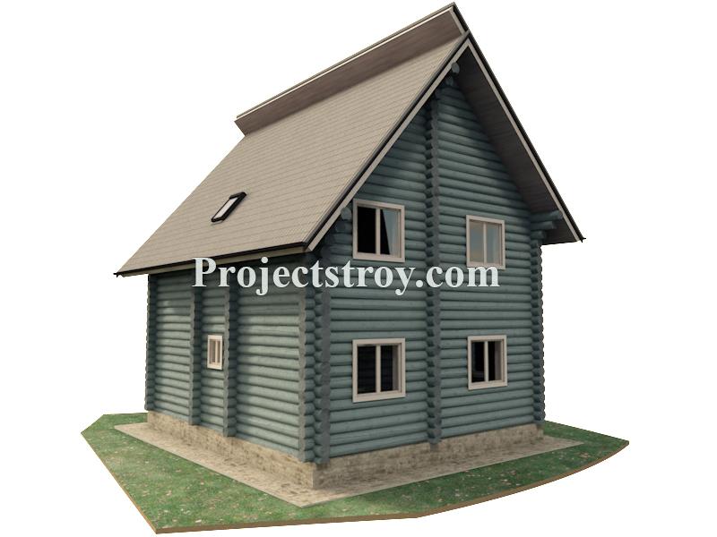 Проект дома из бревна 9 х 9.5 м фасад