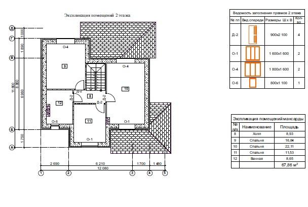 Проект двухэтажного дома 11х12м план