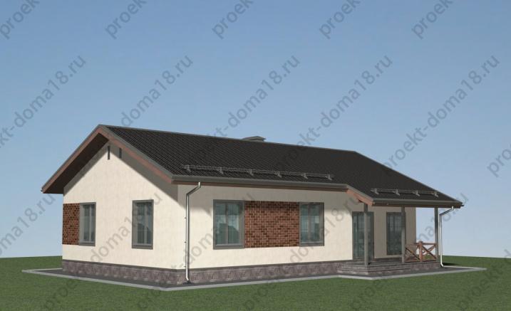 Проект одноэтажного дома площадью 120 кв. м. фасад