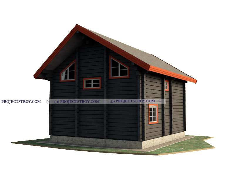 Деревянный дом из лафета 8 х 9 м фасад