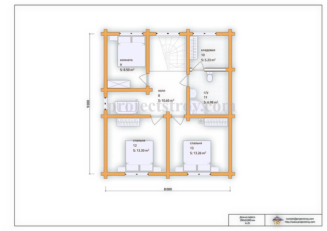 Деревянный дом из лафета 8 х 9 м план