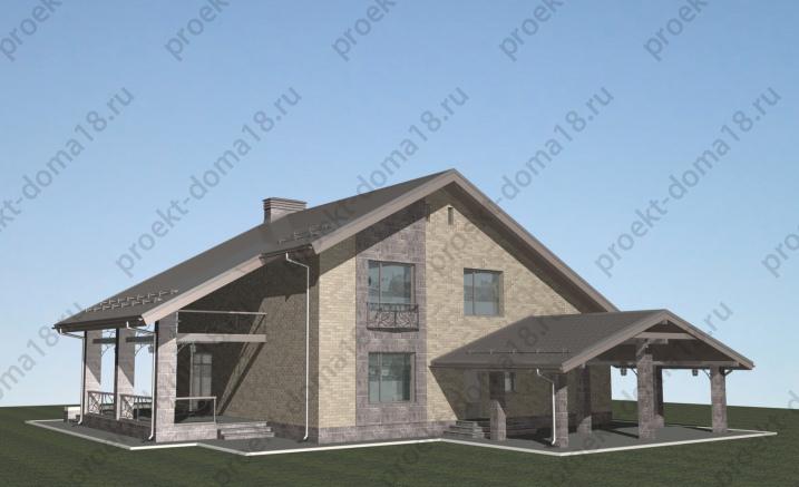 Проект дома в стиле ШАЛЕ площадью 200 кв.м фасад