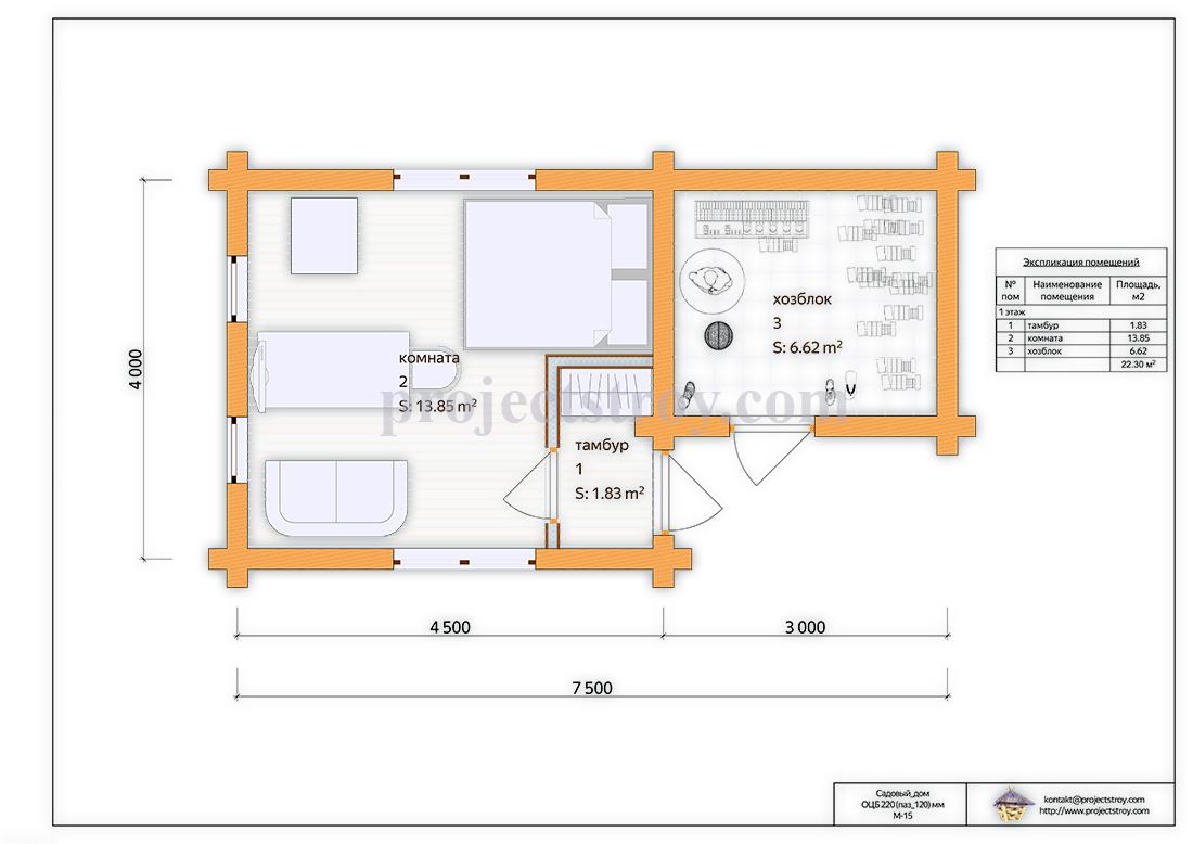 Садовый дом и хозблок 7.5 х 4 м план