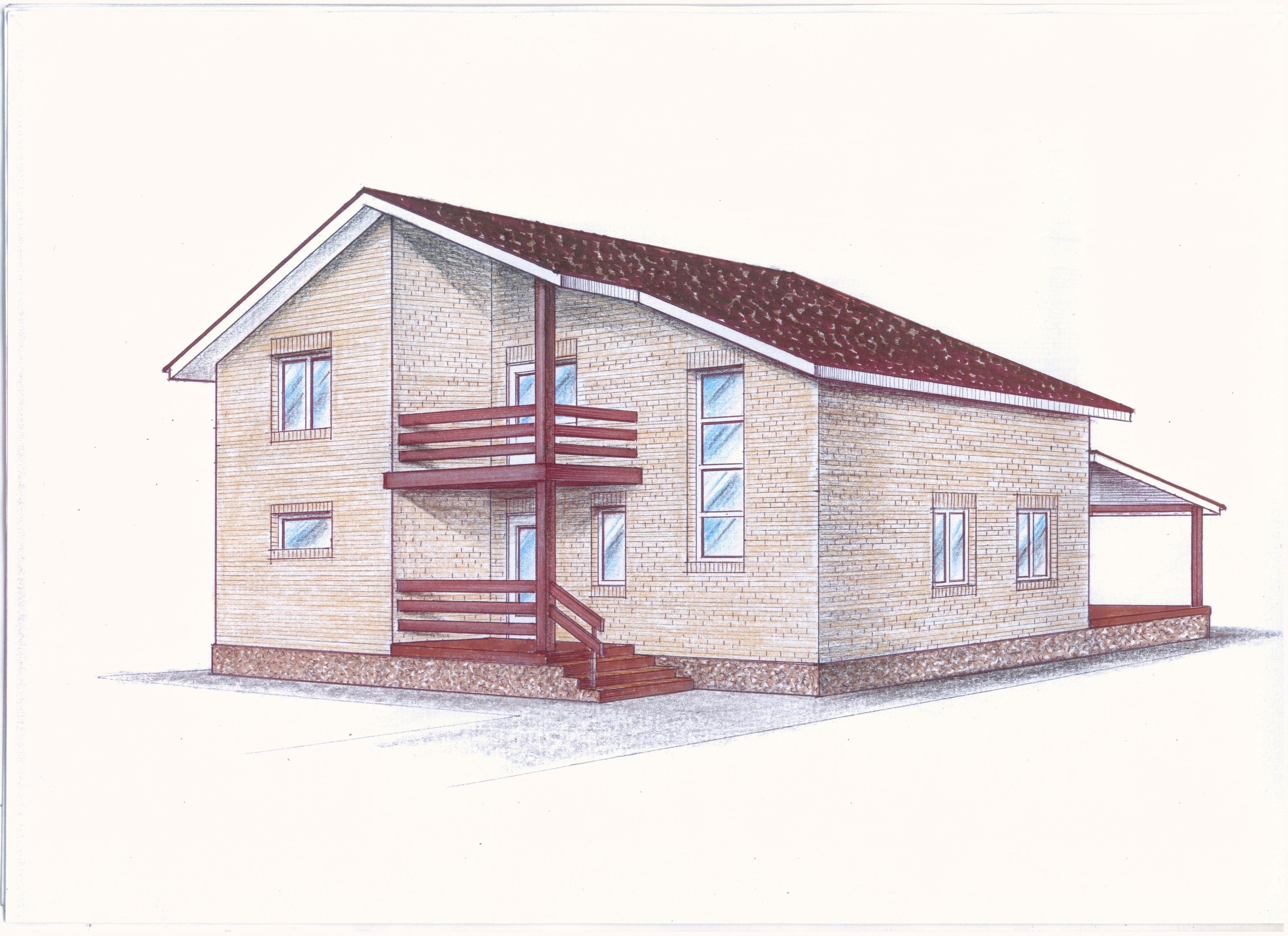 Проект двухэтажного дома фасад