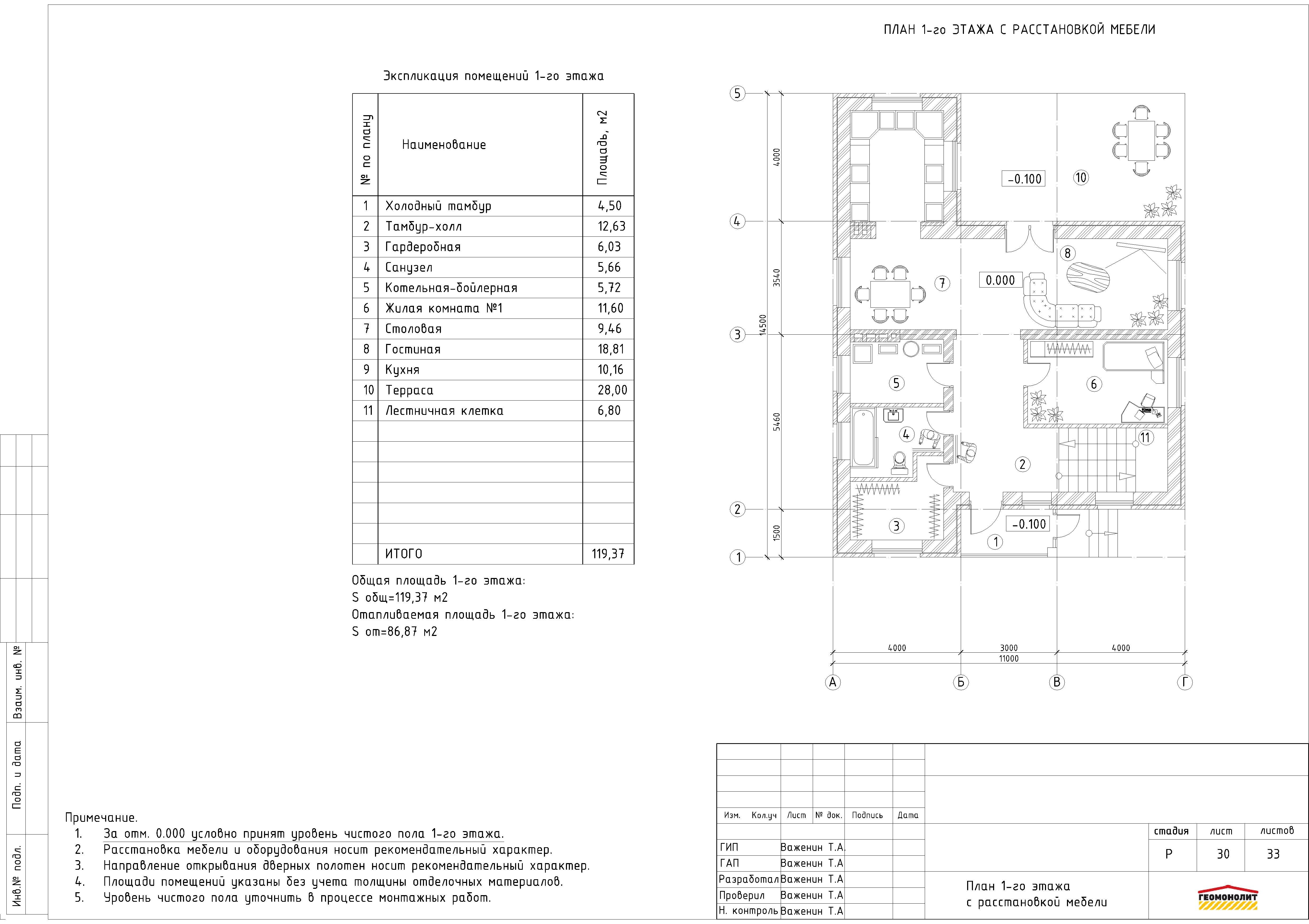 Проект двухэтажного дома план