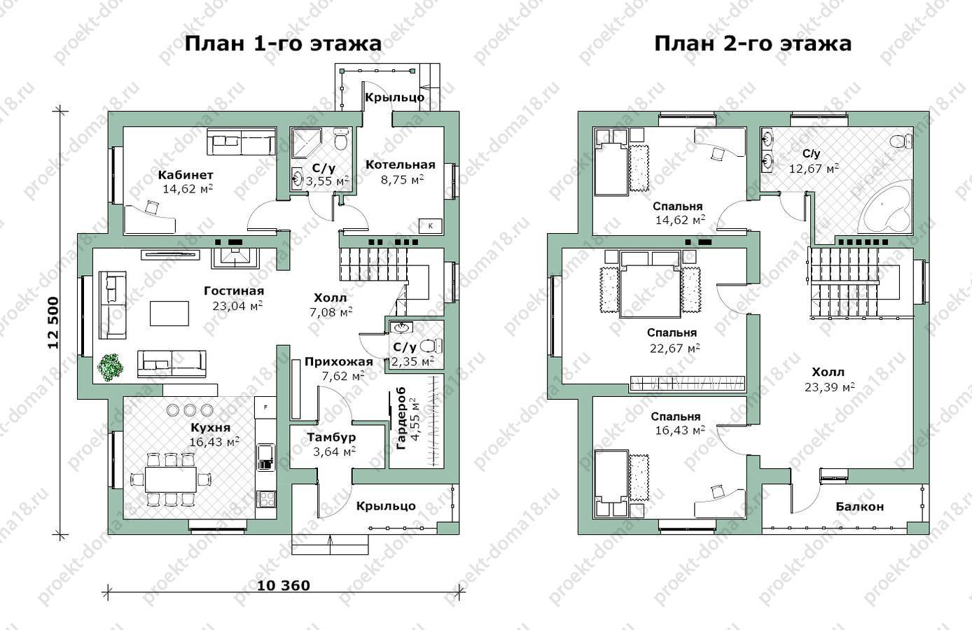 Проект дома из газобетона Н-09-15/а план