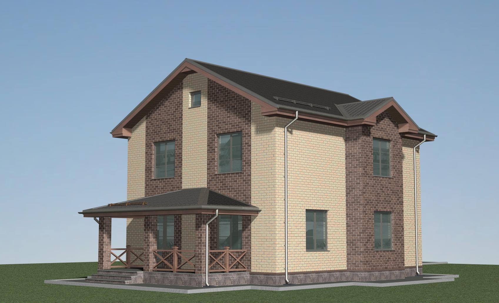 Проект дома с гаражом из теплой керамики Л-02-24/а фасад