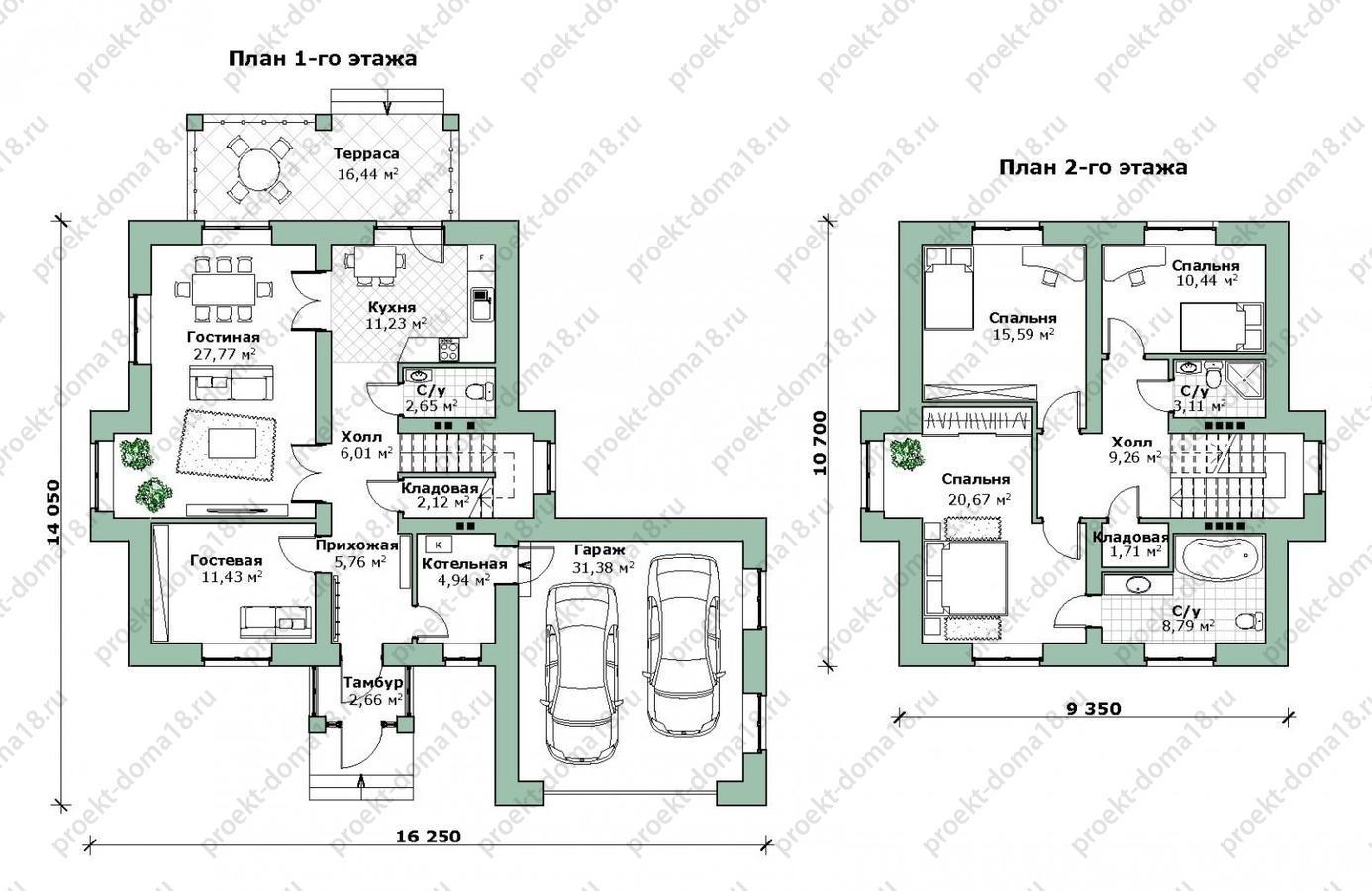Проект дома с гаражом из теплой керамики Л-02-24/а план