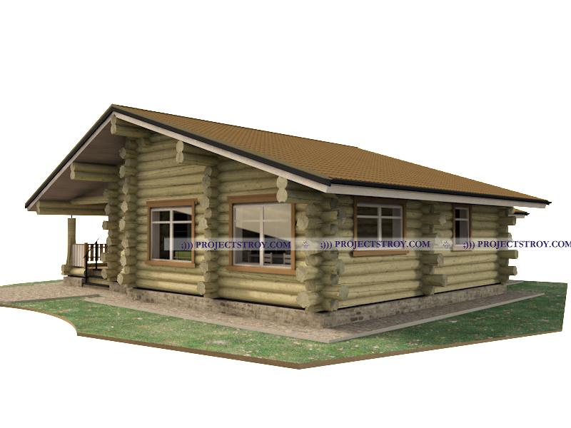 Одноэтажный деревянный дом в диком срубе фасад