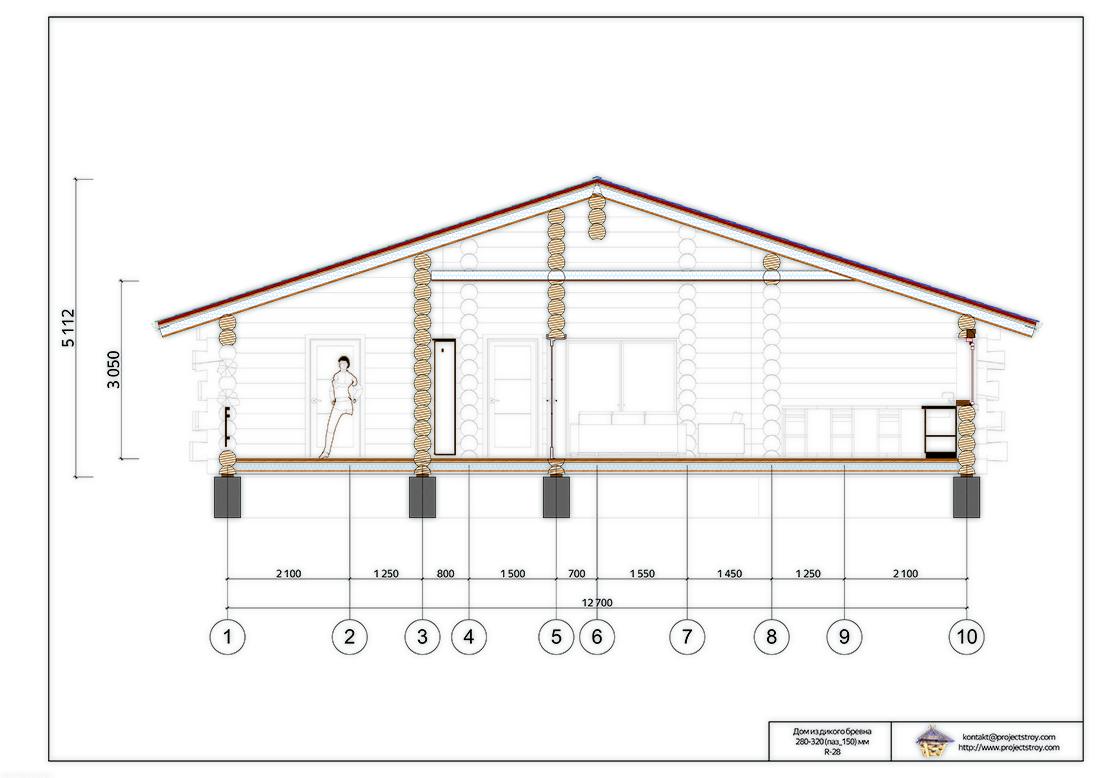 Одноэтажный деревянный дом в диком срубе план