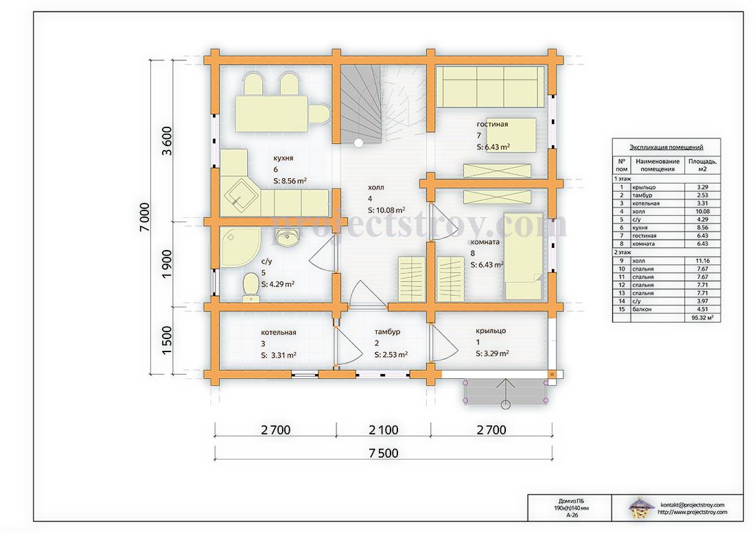 Дом из профилированного бруса до 100 кв. м план