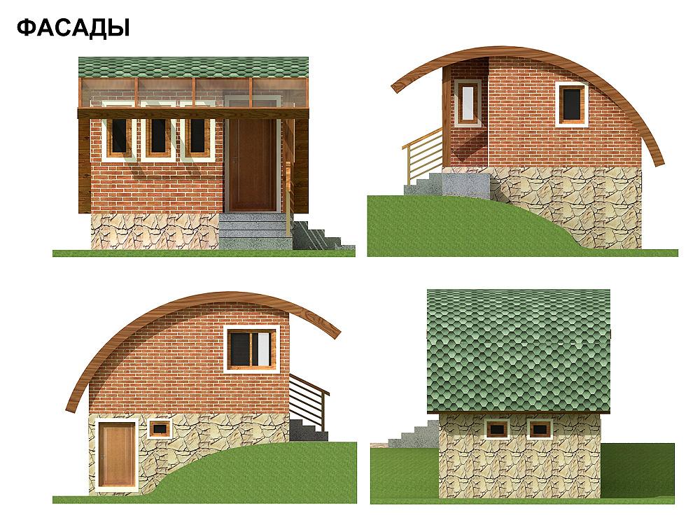 Небольшой дачный домик на склоне. фасад