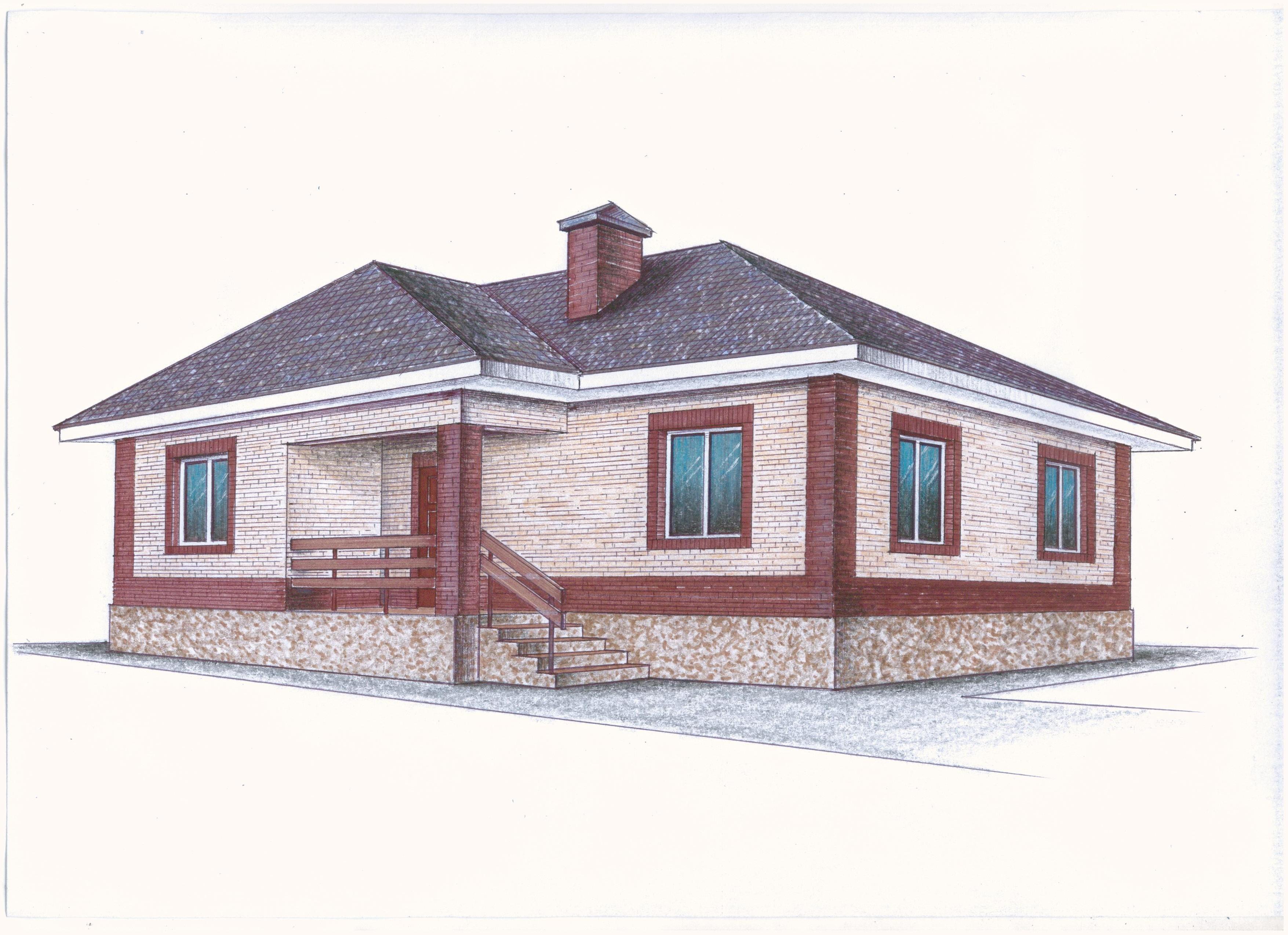 """Иж-326"" Проект одноэтажного дома фасад"