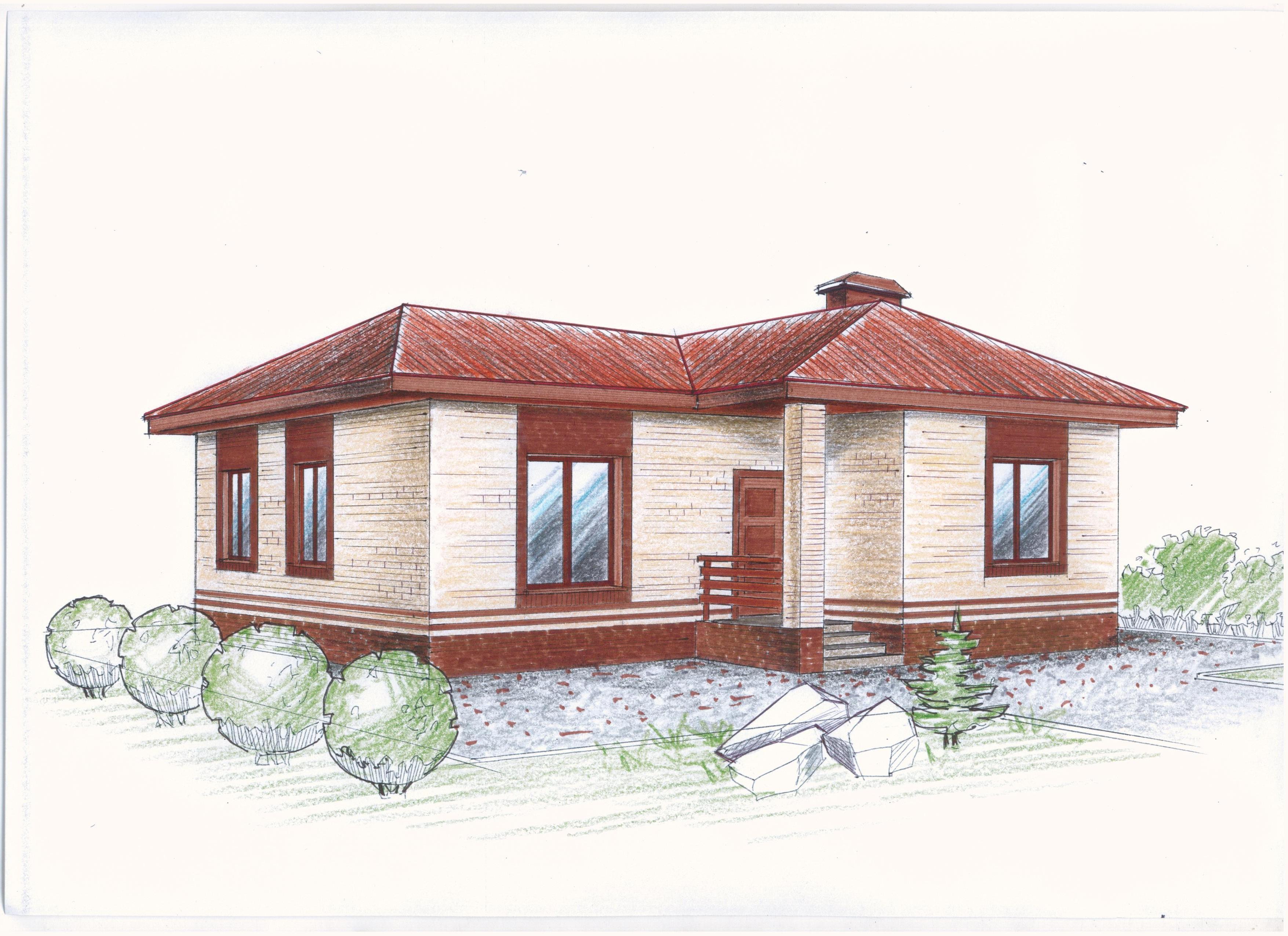 """""""Иж-327"""" Проект уютного одноэтажного дома фасад"""