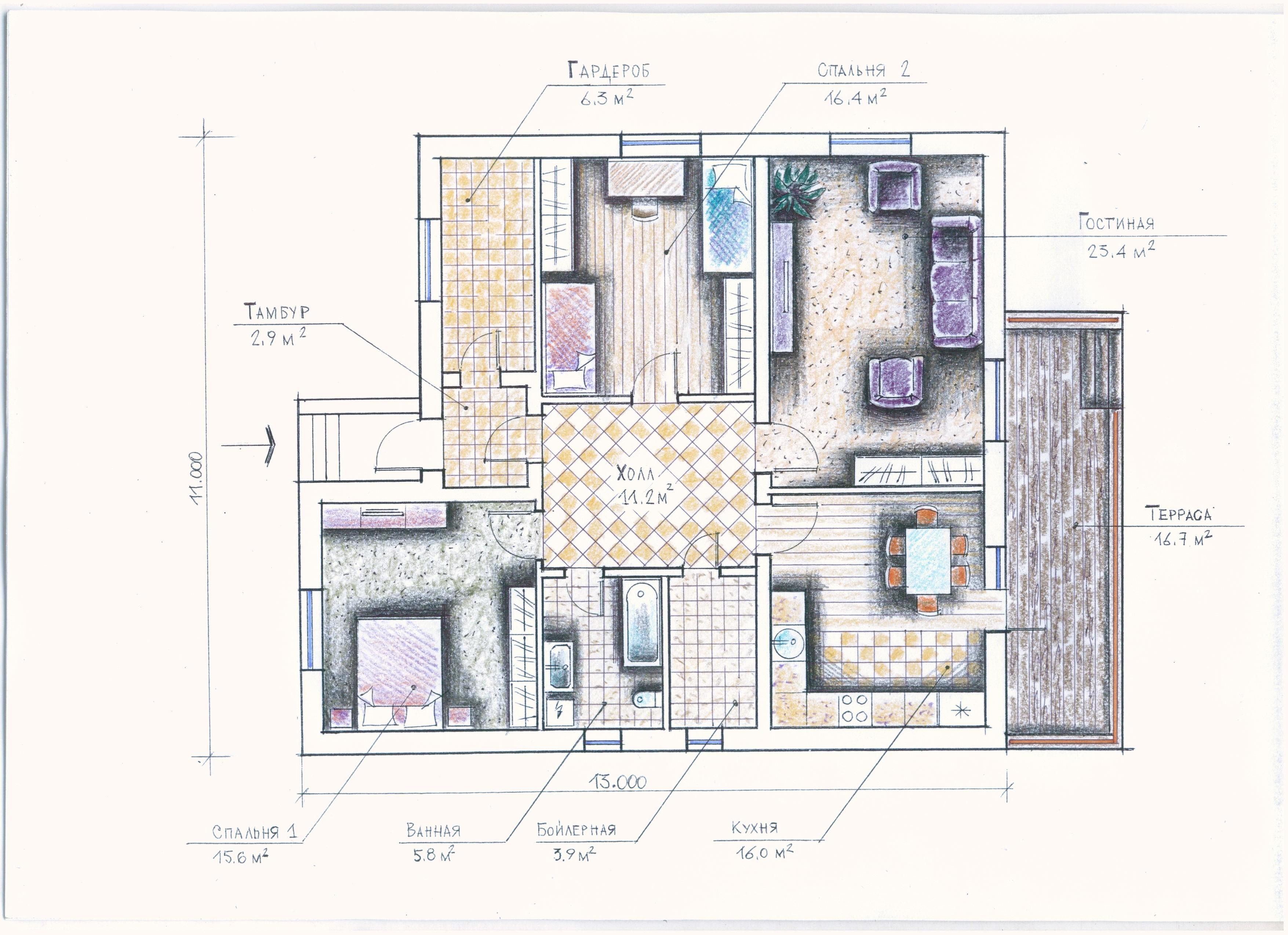 """""""Иж-327"""" Проект уютного одноэтажного дома план"""