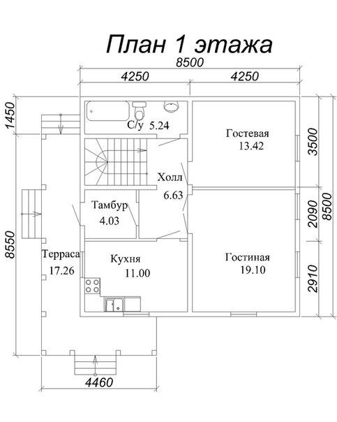 Каркас дома КД-14 план