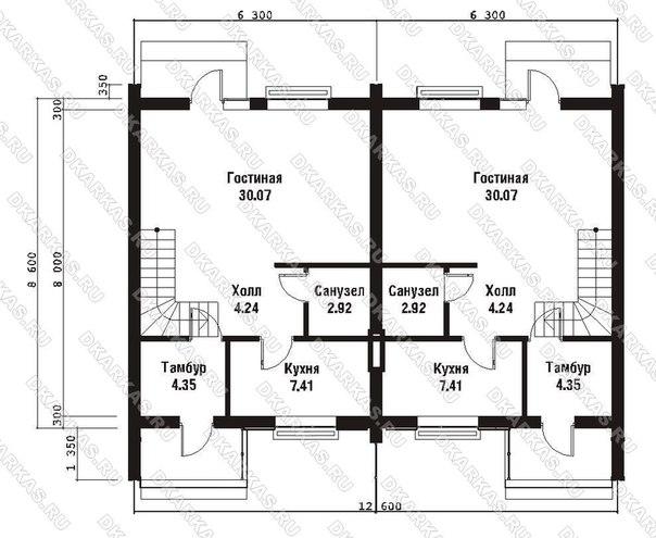 Каркас дома на 2 семьи КД-35 план