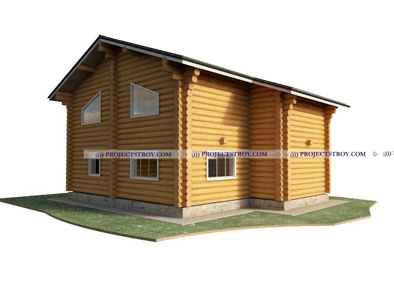 Загородный дом из бревна размером 15.1 х 11.9 м фасад