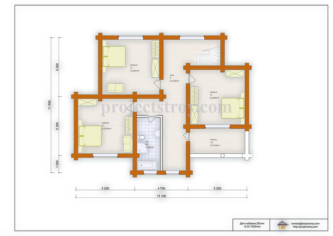 Загородный дом из бревна размером 15.1 х 11.9 м план