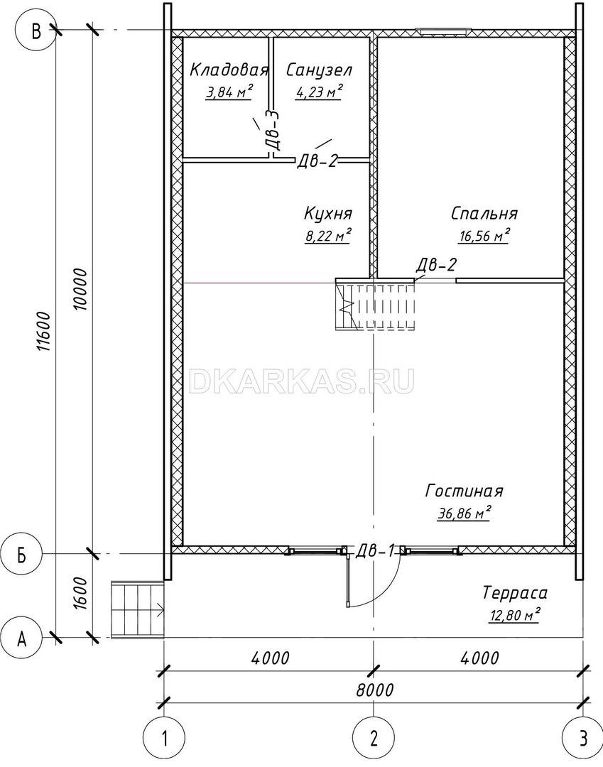 Каркас дома КД-71 план