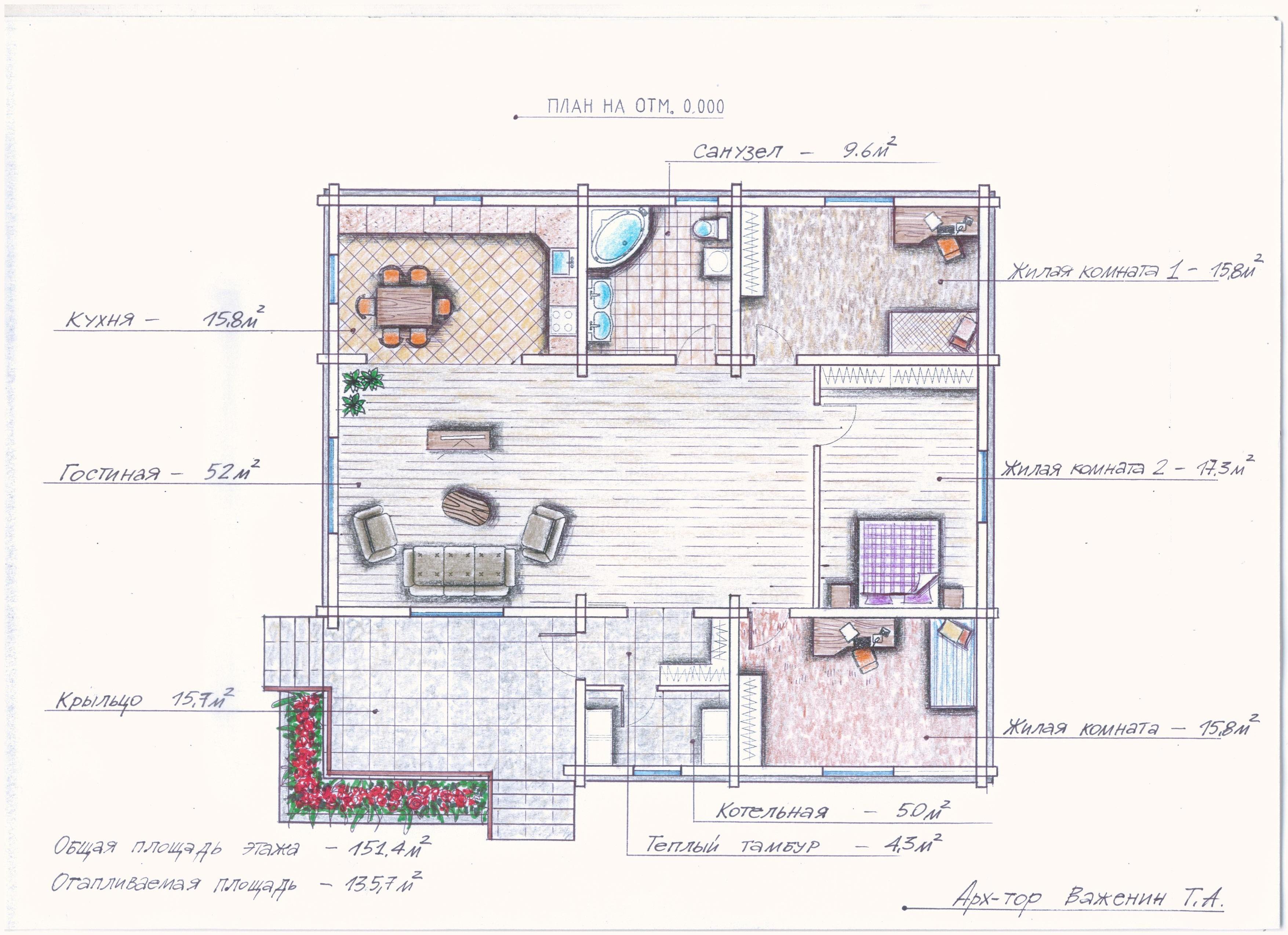 Проект одноэтажного дома из оцилиндрованного бревн план