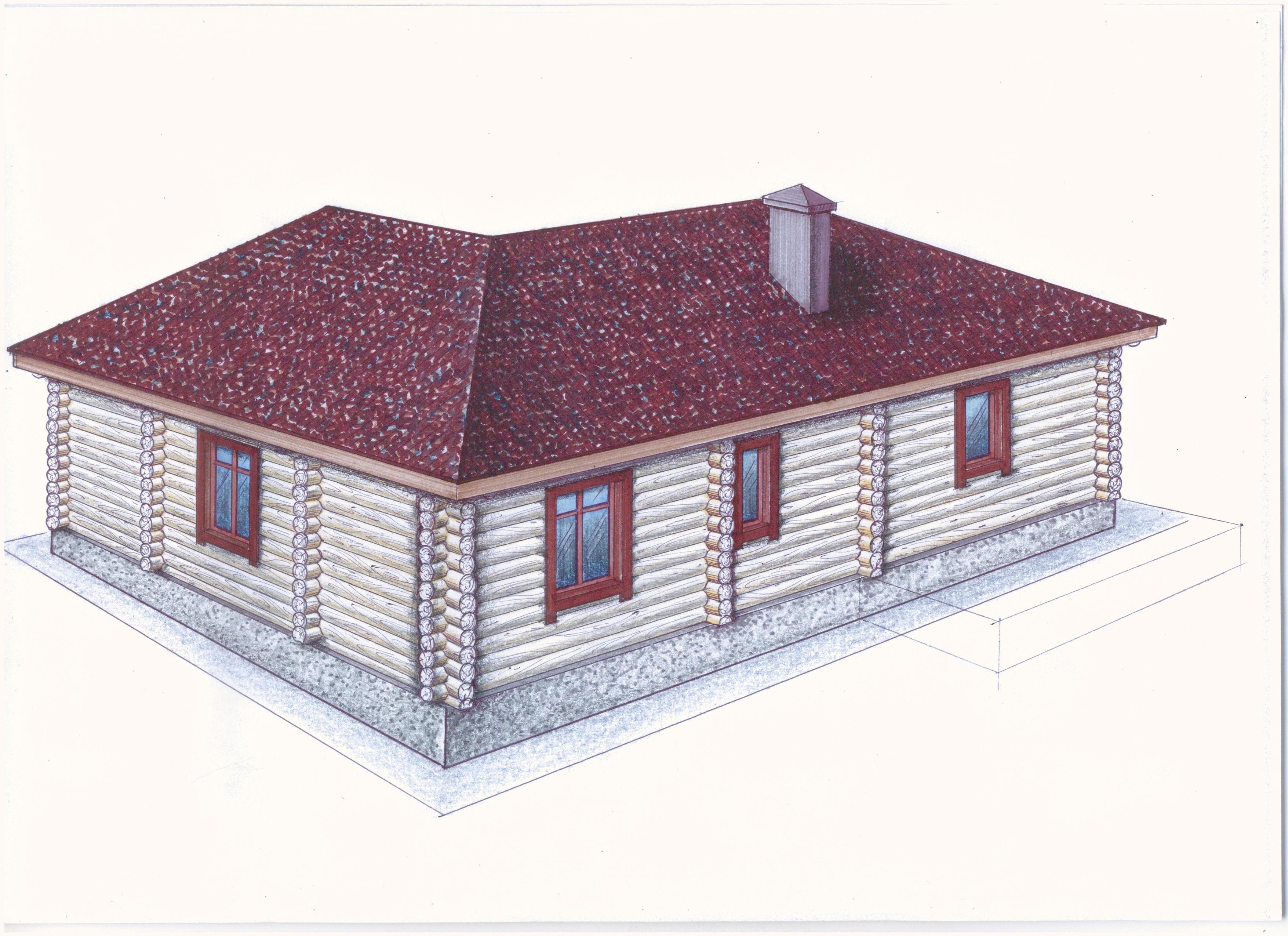 Проект одноэтажного дома из оцилиндрованного бревн фасад
