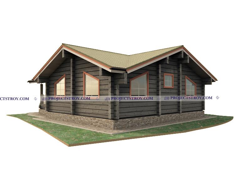 Деревянный дом из лафета 11.5 х 11.5 м фасад
