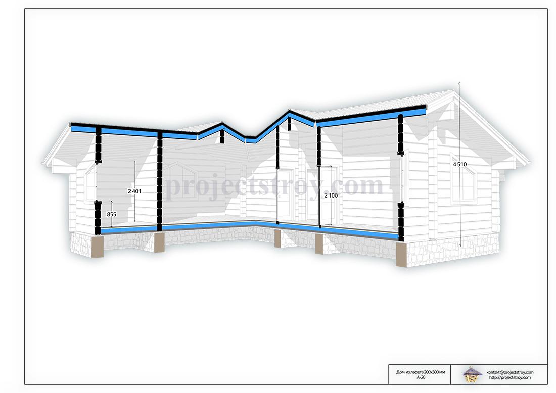 Деревянный дом из лафета 11.5 х 11.5 м план