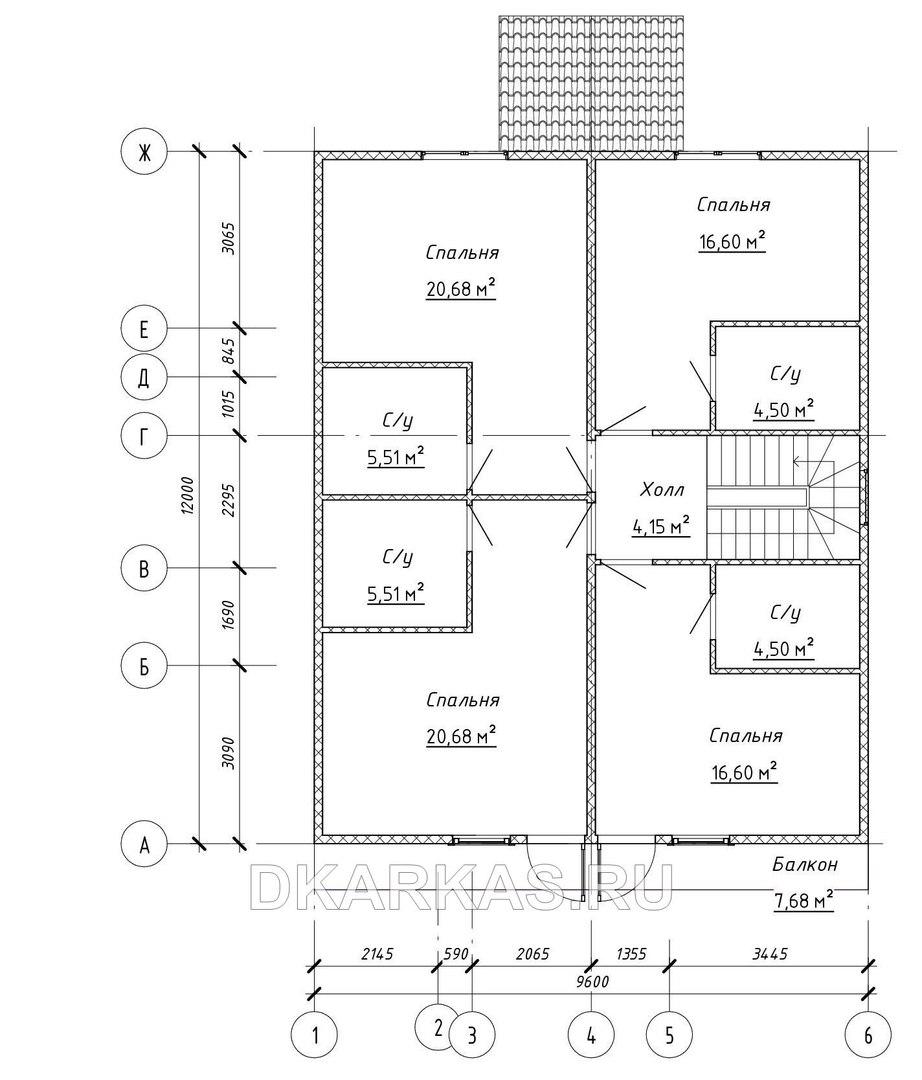 Силовой каркас дома КД-72 план