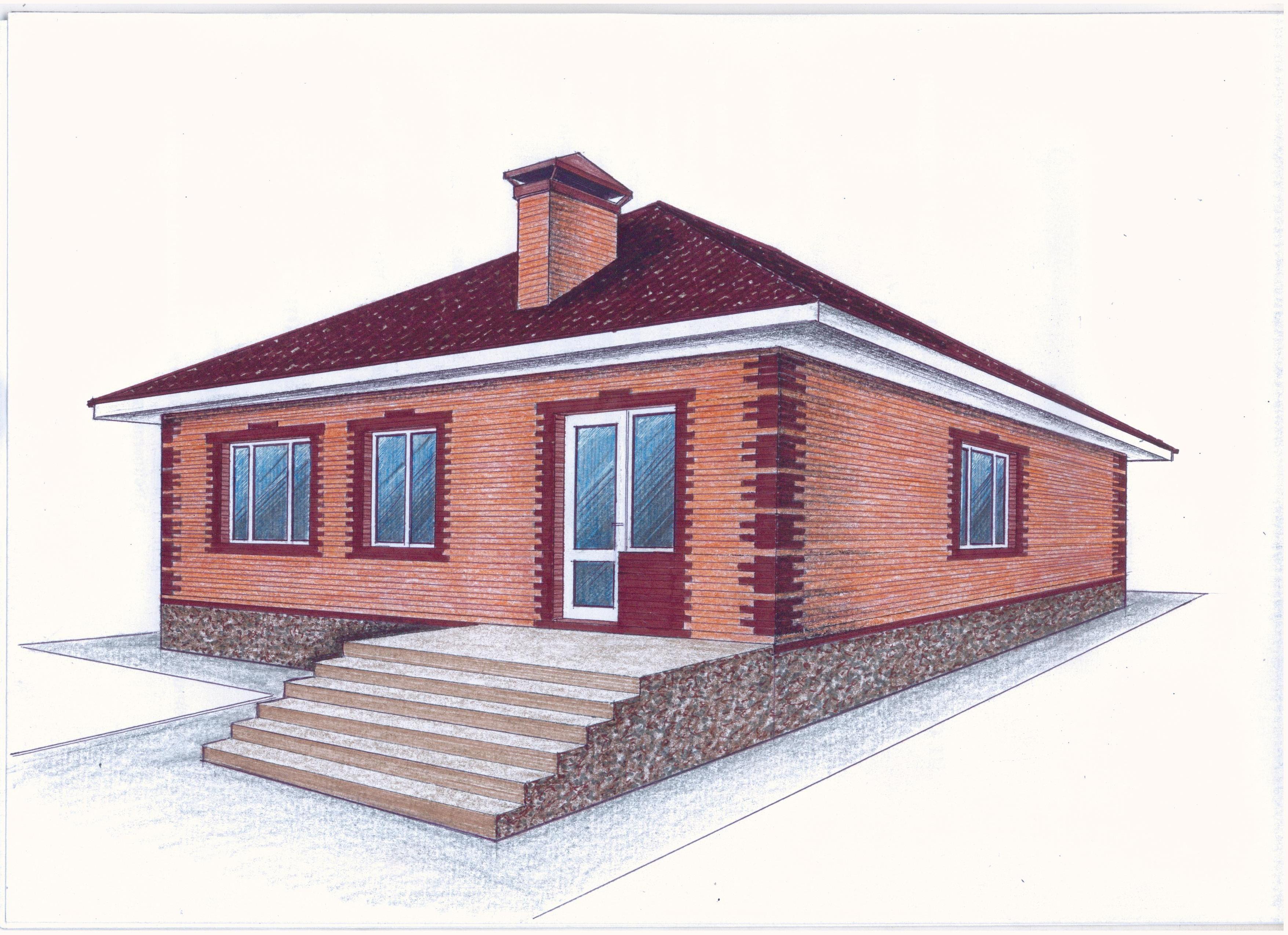 """""""Иж-334""""  Проект уютного одноэтажного дома фасад"""