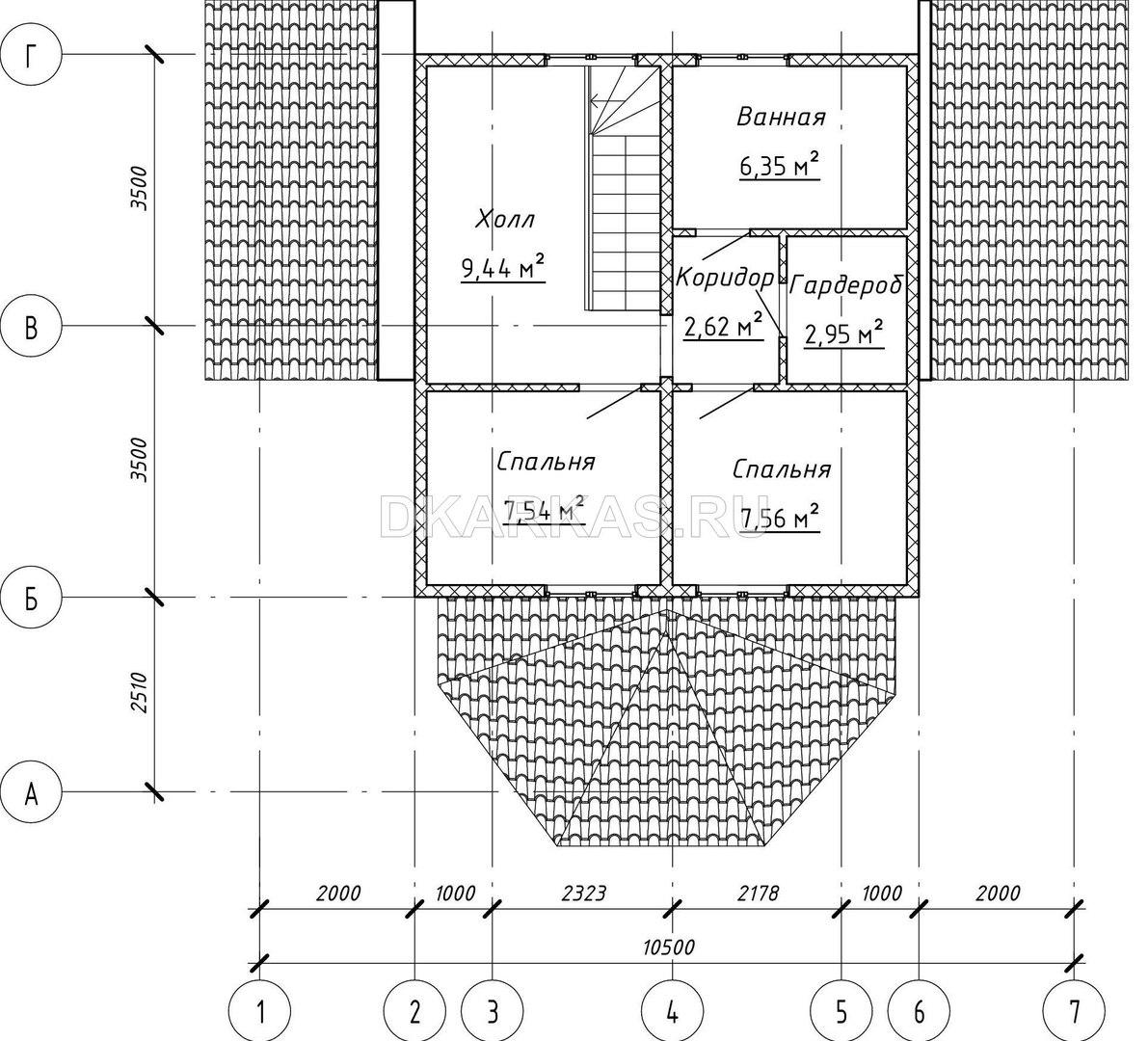 Силовой каркас дома КД-73 план
