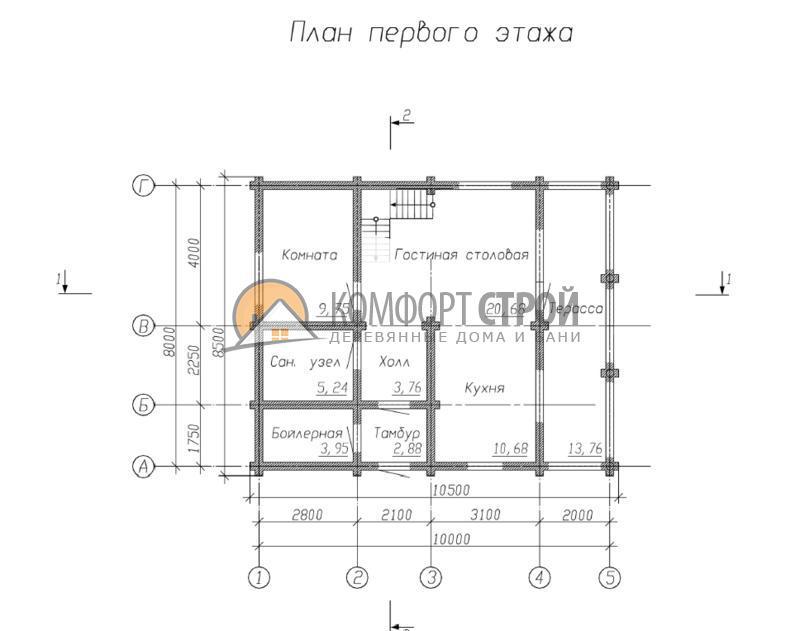 Дом 138.3 м2 8х10 по проекту БРОННИЦЫ план